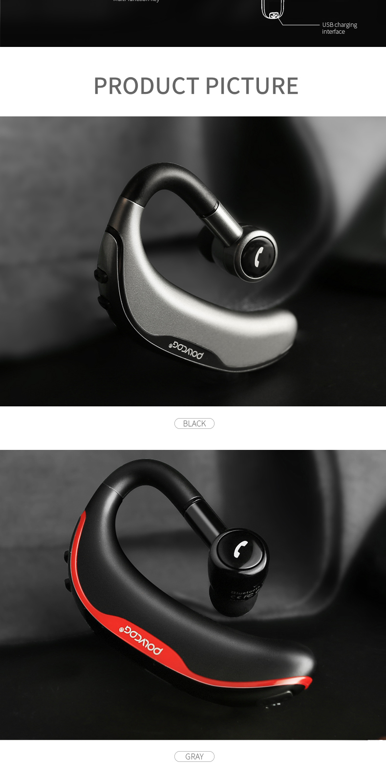 F600 Wireless Headphones Drive Bluetooth Hook Design Handsfree Stereo Mic Earphone Earbuds for I12 Tws pro for iPhone Samsung