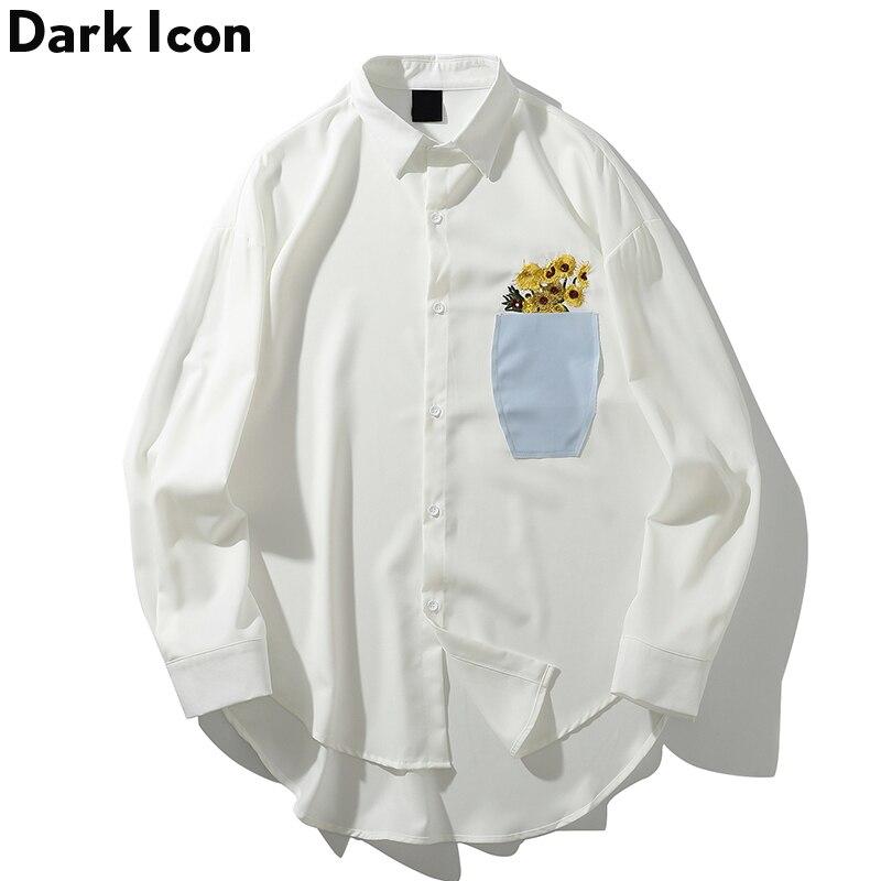 Dark Icon Flower Print Long Sleeve Dress Shirts Men Harajuku Casual Men's Shirt Fashion Hip Hop Blouse White Shirts