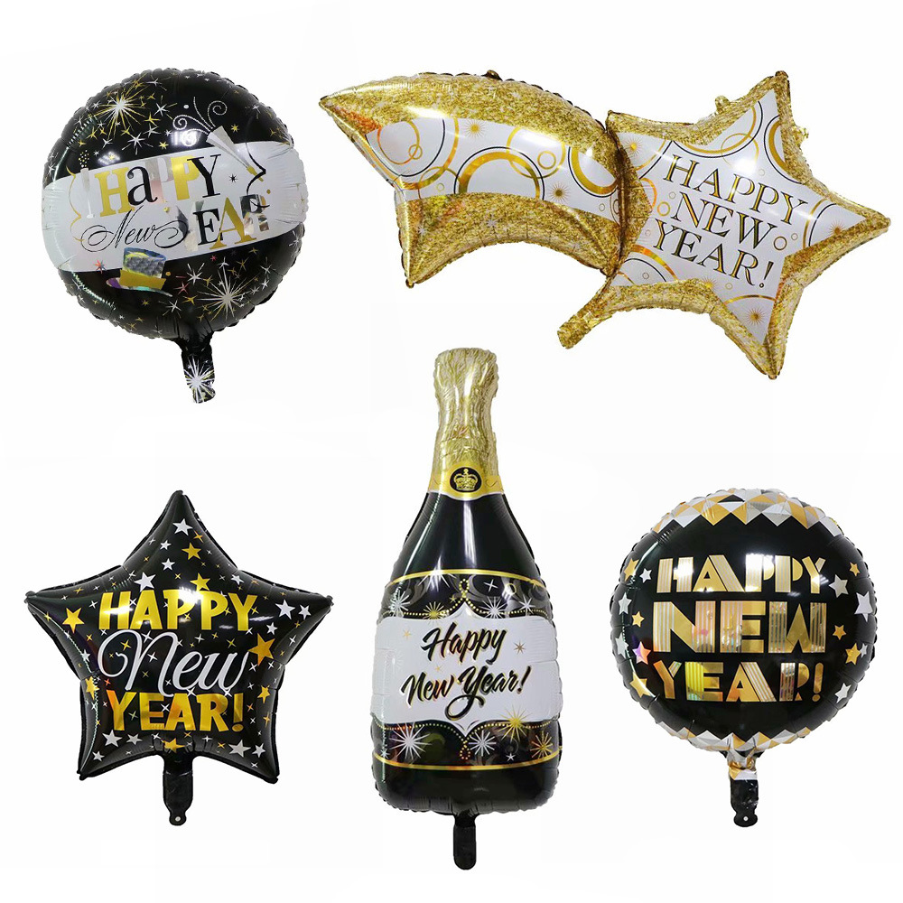 5pcs Happy New Year Party Decoration Golden Crown Champagne Glasses Whiskey Bottle Foil Balloon Cartoon Hat