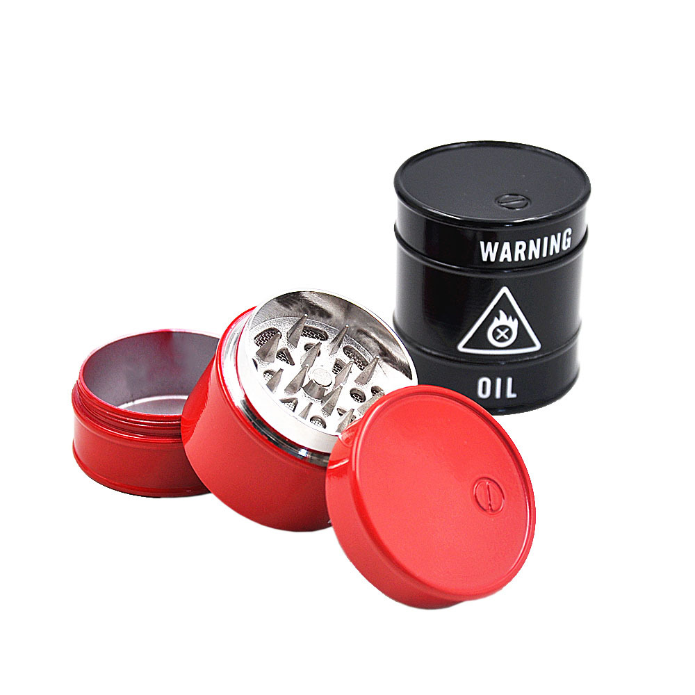 WARNING Oil Drum Herb Grinder 45 MM 3 Layers Shark Teeth Metal Tobacco Grinder Spice Crusher  machine grinder Pipe 1
