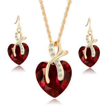 Conjunto de joyería de cristal de arcoíris Vintage para mujer, aretes colgantes de Color dorado con abalorio para mujer, corazón amor, collar de cadena de boda Simple 1