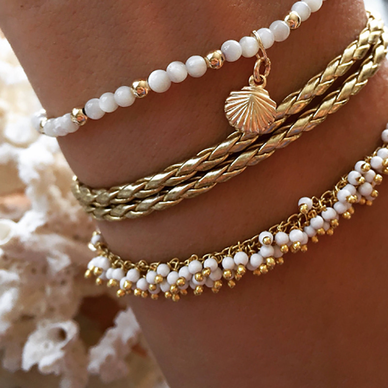 Meetvii Gold Color Bohemia Anklets Set for Women Imitation Pearl Shell Star Beads Trendy Ankle Bracelet Female Beach Jewelry