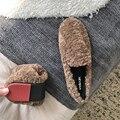 4000088447146 - Zapatos plegables de piel para el hogar, mocasines planos para mujer, zapatillas de Ballet peludas para mujer, mocasines de invierno de punta redonda para interiores de talla grande 35-43