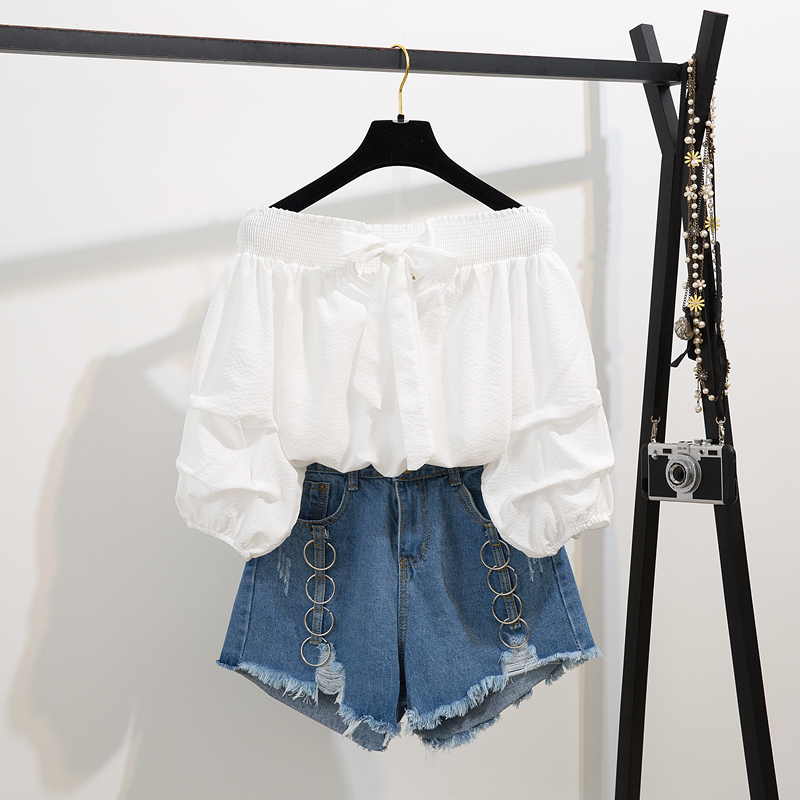 2020 Summer two piece set New Off Shoulder Loose Half Lantern Sleeve Solid Cute Blouse Jean Shorts Two-Piece Outfit Casual Sets