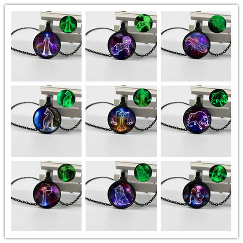 New fashion black luminous twelve constellation glass round pendant necklace men and women gift jewelry