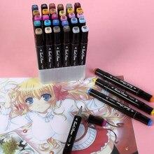 Marcadores pintados à mão mangá desenho marcadores caneta álcool baseado esboço oleoso twin escova caneta marcador touchfive 24/40/48/80lot