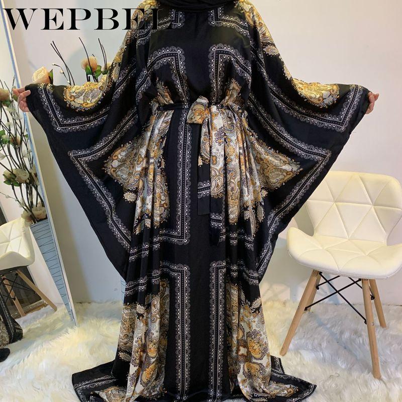 Long Batwing Sleeves Dubai Dresses Arab Kaftan Caftan Jalabiya Loose Caftan Abaya Islamic Long Dress Muslim Women Maxi Dress