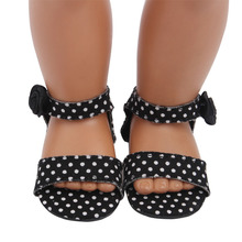 Black and White Spotted Sandals New Born Baby Doll Shoes for 18