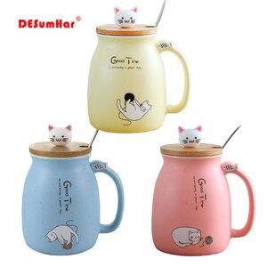 Criativo gato de gergelim calor-resistente copo cor dos desenhos animados com tampa 450ml copo gatinho leite café caneca cerâmica crianças copo escritório presentes