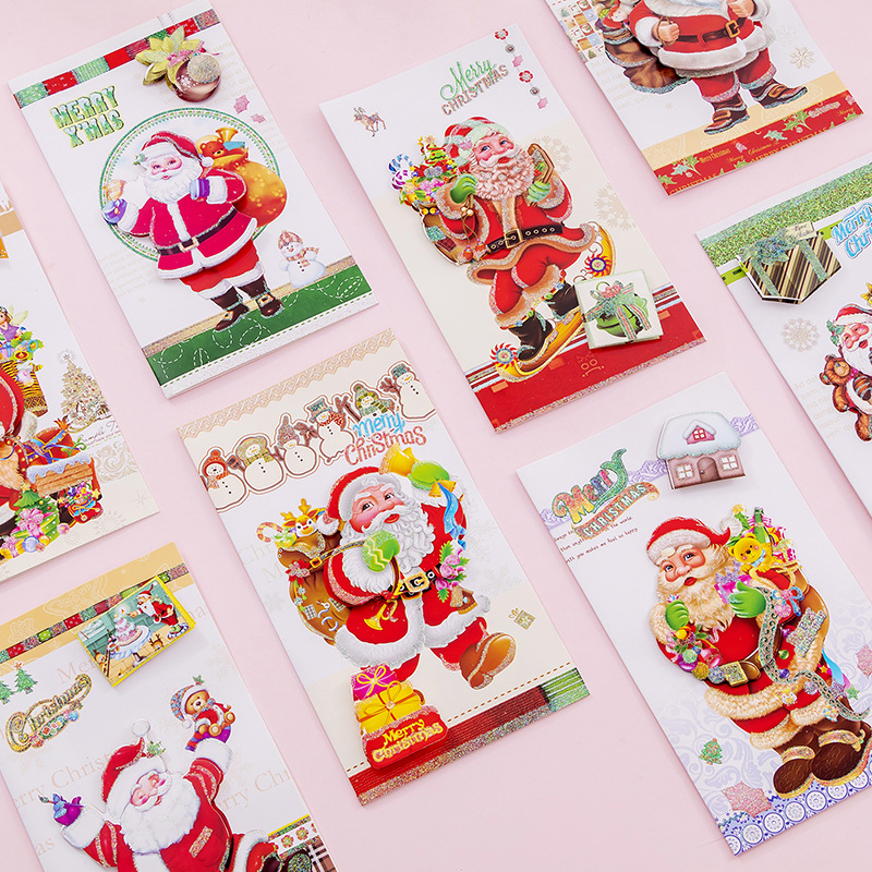 4 Pcs/pack Cartoon Santa Claus 3D Cover Greeting Postcard Great Christmas Gift Card Set Message Card Letter Envelope Gift Card
