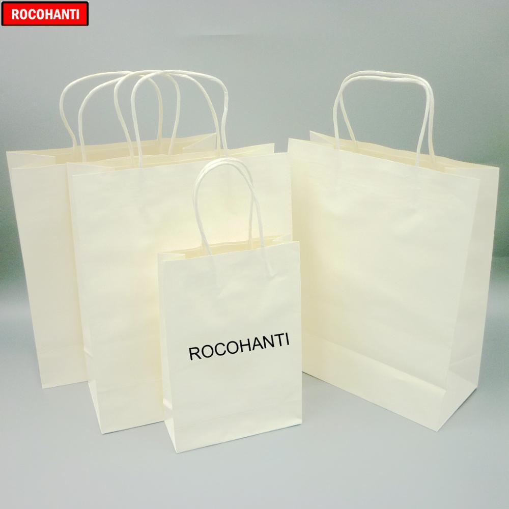 Bolsa de Compras de Papel Bolsa de Papel Kraft com Alça Logotipo Personalizado Impresso Branco 100x