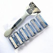 6 Слоев 1 Бритва Держатель + 7 Сменных Лезвия Бритвы Головки Кассеты Бритвенный Набор Синий Нож Для Человека