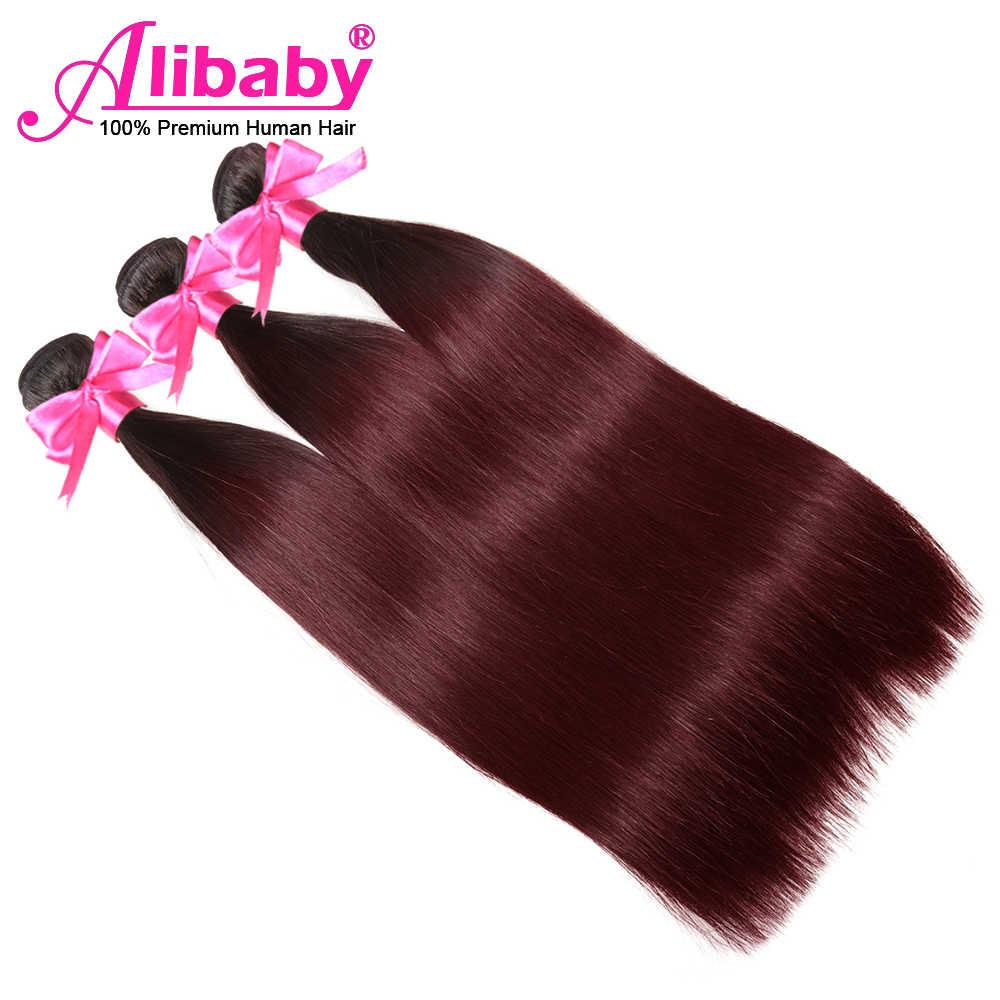 Alibaby 99j cabelo tecer pacotes t1b/borgonha cabelo tecer vinho vermelho feixes de cabelo humano pré-colorido em linha reta ombre pacotes de cabelo
