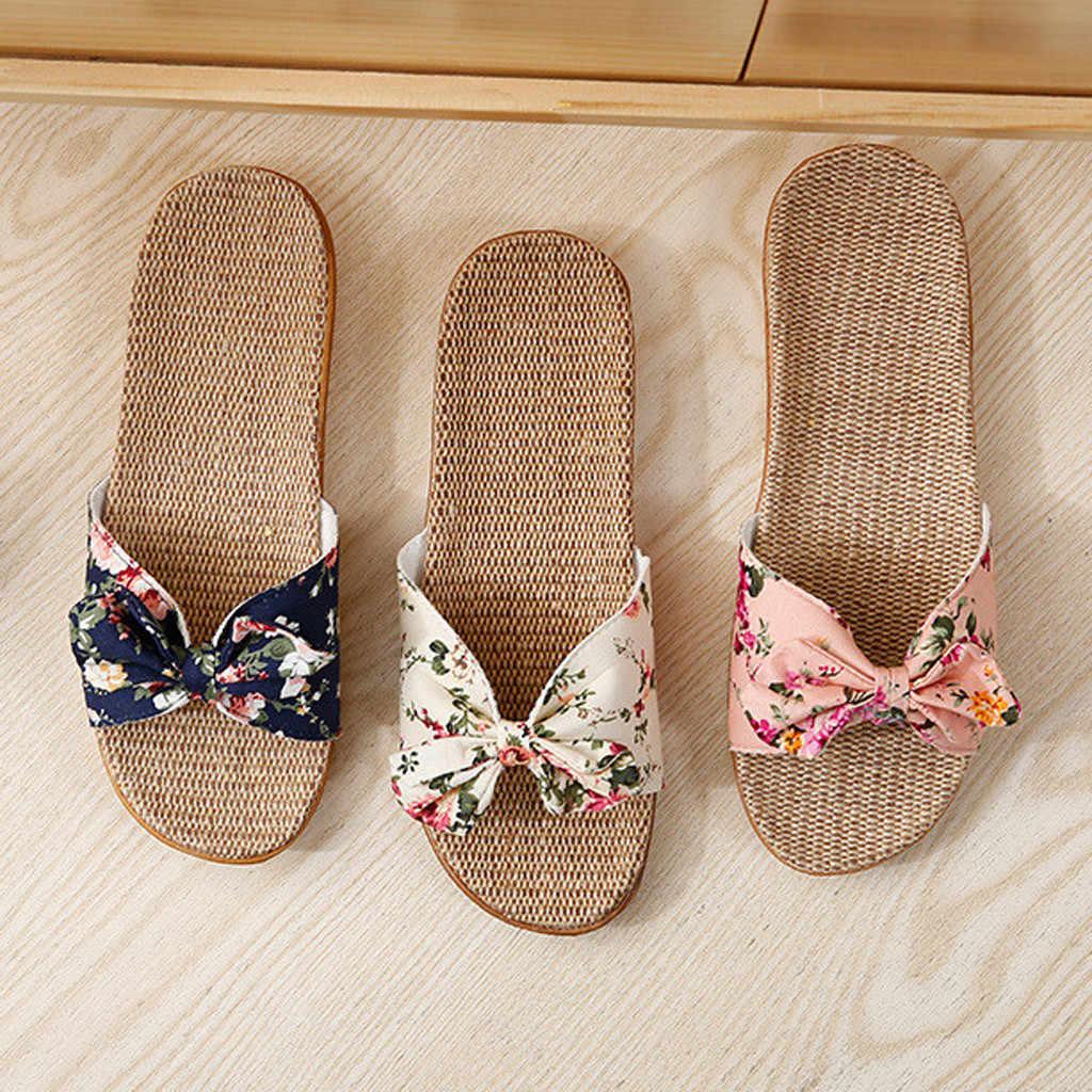 Ev terlik kadın yay kadın kadın Bohemia ilmek keten keten Flip flop plaj ayakkabısı sandalet terlik обувь женская # 116GP