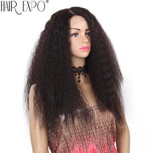 Image 2 - 24 polegada kinky reta peruca dianteira do laço sintético longo perucas de cabelo macio para as mulheres negras 150% densidade resistente ao calor do cabelo expo cidade