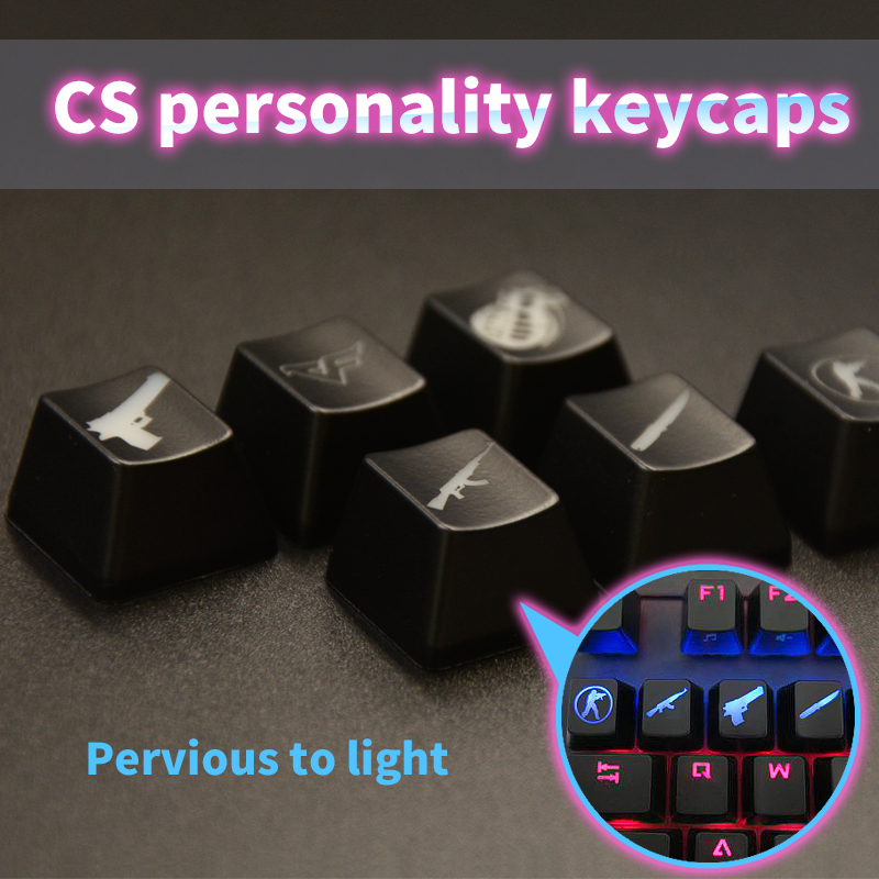 CS GO Gaming Keycaps Key Button CSGO Key Caps Game Keycap Game Accessories Personality Pervious ABS Cap For Mechanical Keyboard