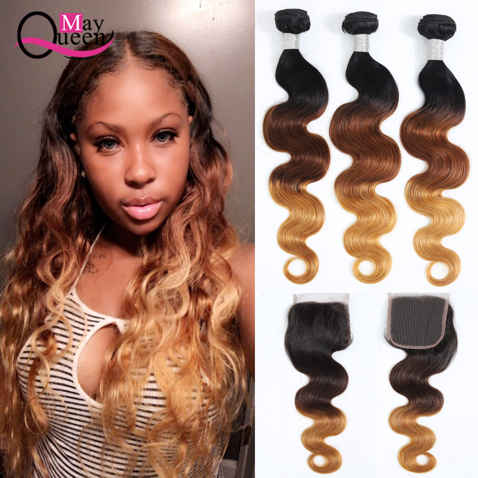 Brazilian Body Wave Ombre Bundles With Closure Pre-Colored Hair Weaves 3 Bundles With Closure Remy Human Hair May Queen