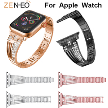 Metal watches strap for Apple Watch Series 4/3/2/1 38mm 42mm 40mm 44mm Rhinestone bracelet watch band for Apple watch wristband 42mm 38mm for apple watch s3 series 3