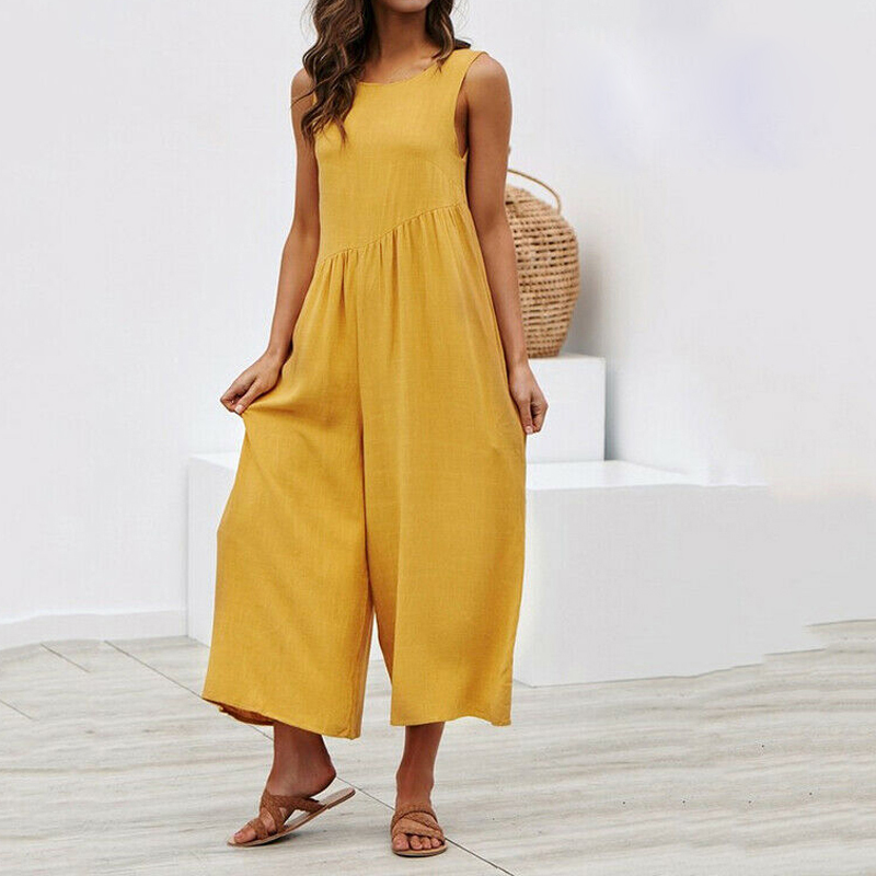 Casual Loose Women   Jumpsuit   Backless Yellow Vintage Boho Solid Playsuit Wide Leg Beach Sleeveless Female   Jumpsuit   Summer Romper