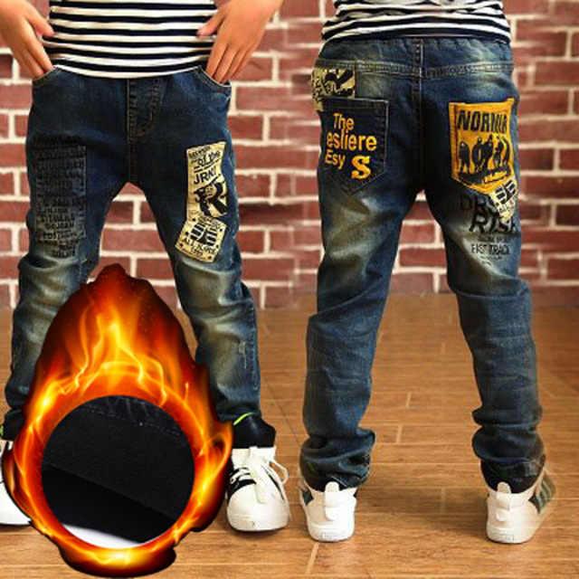 Boys Teenage Long Trousers 6-10Yrs Boys Jeans Trousers Winter Add Wool Pants 2019 Winter Warm Children Denim Jeans Brand Clothes