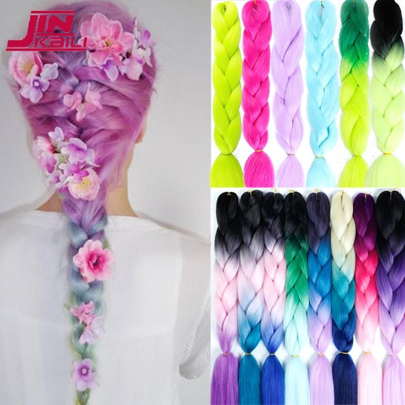 "JINKAILI Jumbo Crochet Braids 24"" Synthetic Braiding Hair For Women Blonde Pink African Fake Hair Heat Resistant"
