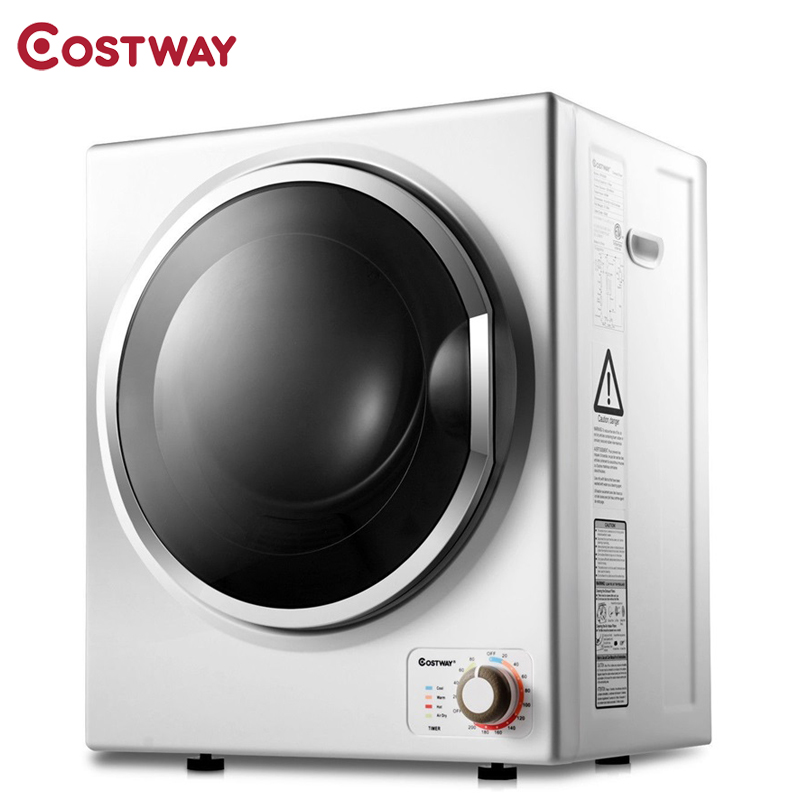 Costway 10 Lbs Multifunction Wall Mounted Stainless Steel Compact Electric Clothes Dryer Durability Tub Minimal Noise EP23598