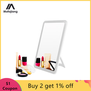 Image 1 - Led Makeup Mirror Touch Screen Vanity Lights 180 Degree Rotation Table Countertop Cosmetics Bathroom Mirror