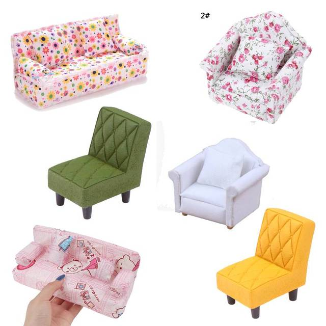 New Arrive Simulation Small Sofa Stool Chair Furniture Model Toys for Doll House Decoration Dollhouse Miniature Accessories 1