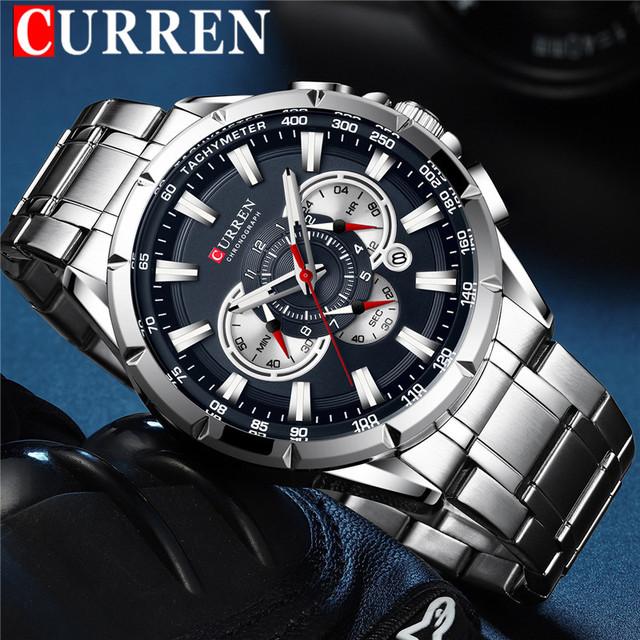 CURREN Fashion Man WristWatch Waterproof Chronograph Men Watch Military Top Brand Luxury Stainless Steel Sport Male Clock 8363