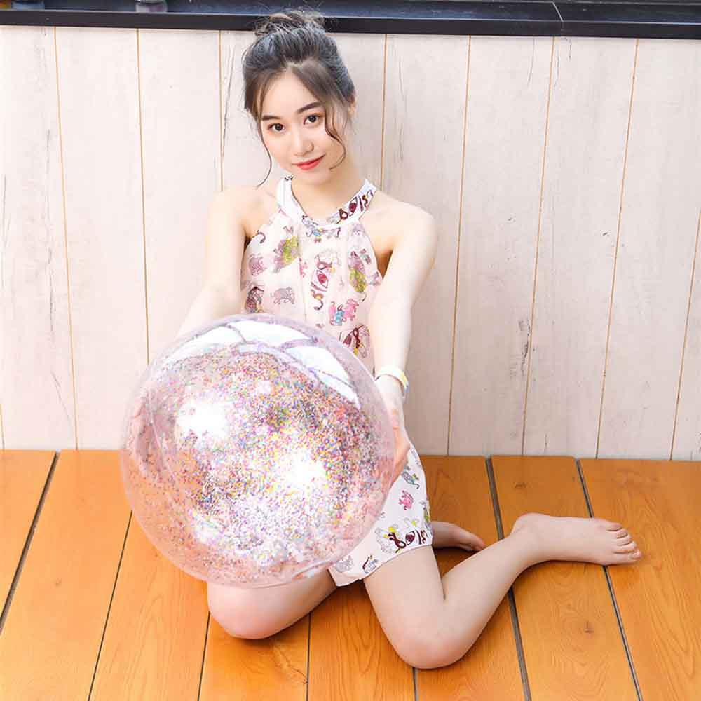 Hot Sale 16''/30cm Transparent Clear Colored Sequins Beach Ball Swimming Pool Inflatable Ball Toys For Children Photograph Props