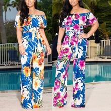 Fadzeco Women Floral Print Jumpsuit Clubwear Short Sleeve Off Shoulder Ruffle Party Rompers High Waist Long Pants Jumpsuit