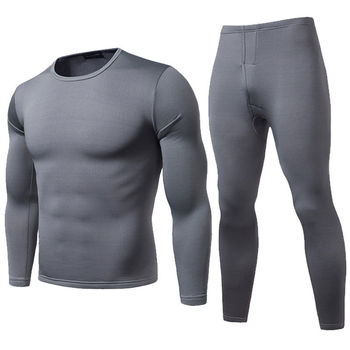 4 Colors Men Winter Warm Velvet Inner Wear Thermal Underwear Long Johns Pajama Set Male Solid Warm Winter Long Underwear Set