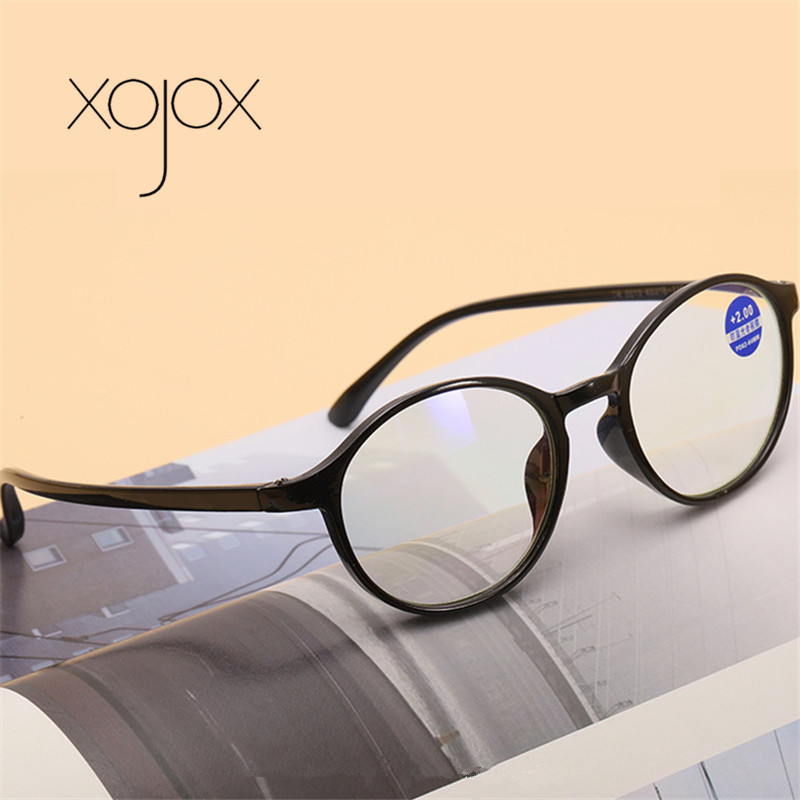 XojoX Classic Reading Glasses Round Frame Anti-Blue Eyesglasses Men Women Transparent Spectacles +1.0 +1.5 +2 +2.5 +3
