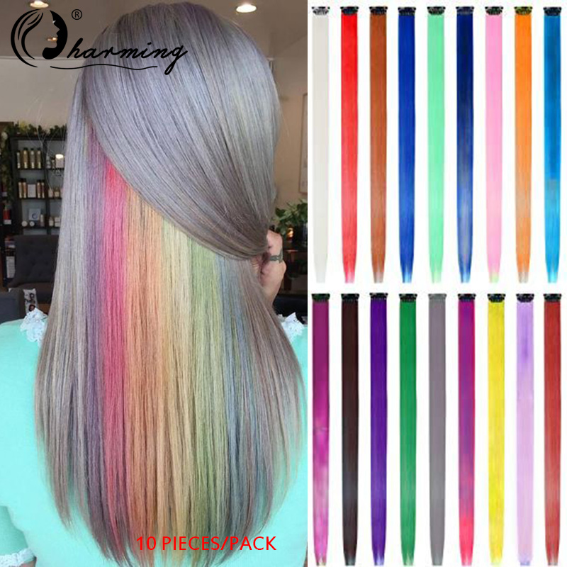 CHARMING 10 Pieces/pack Highlight Synthetic Hair Extensions Clip In One Piece Long Straight Hairpiece Rainbow For Women Hair