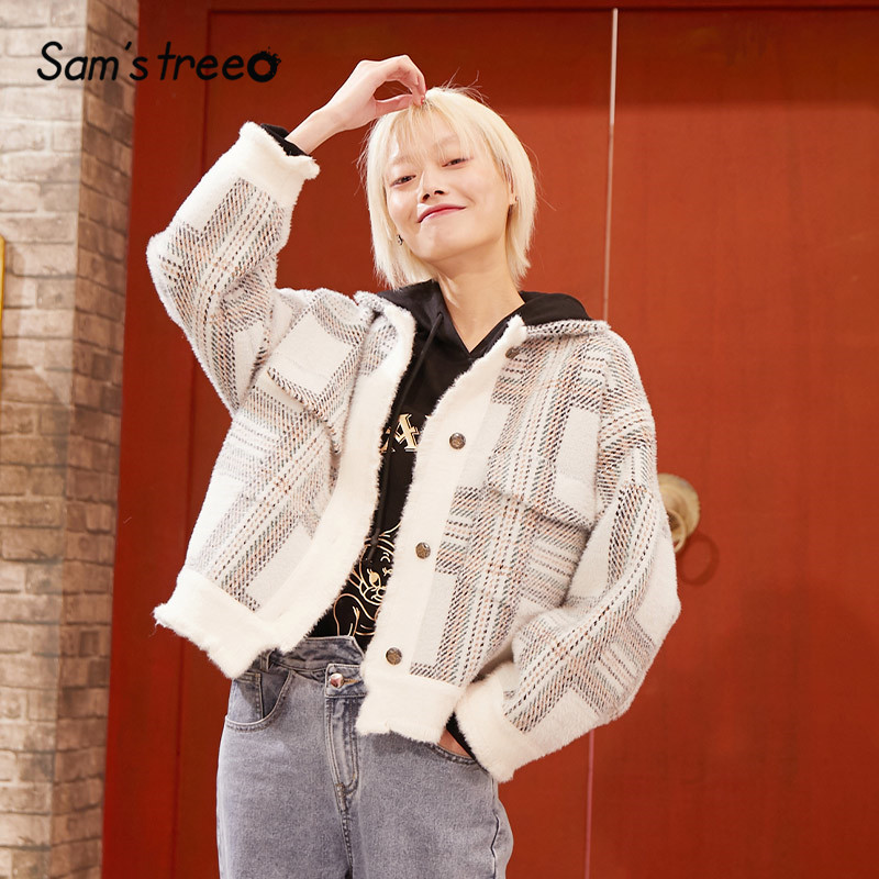 SAM'S TREE White Plaid Single Button Women Short Jacket 2020 Spring New Blue Pocket Long Sleeve Office Ladies Daily Outwears
