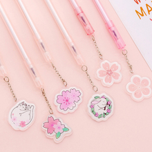 4Pcs/lot Cute Cherry Blossom Rabbit Pendant Gel Pen 0.5mm Black Ink Neutral Pens Stationery School Office Writing Supply Gift