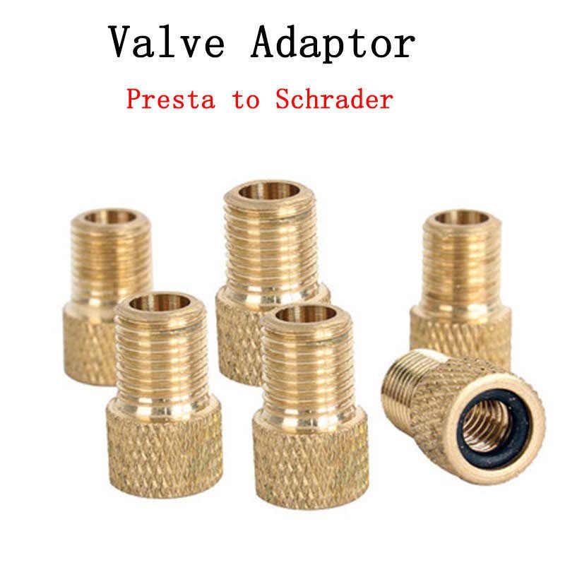 Adaptador de válvula de 2/4 Uds., convertir Presta a Schrader, adaptador de válvula de cobre, herramienta de tubo de boquilla de Gas para ruedas, accesorios para bicicleta