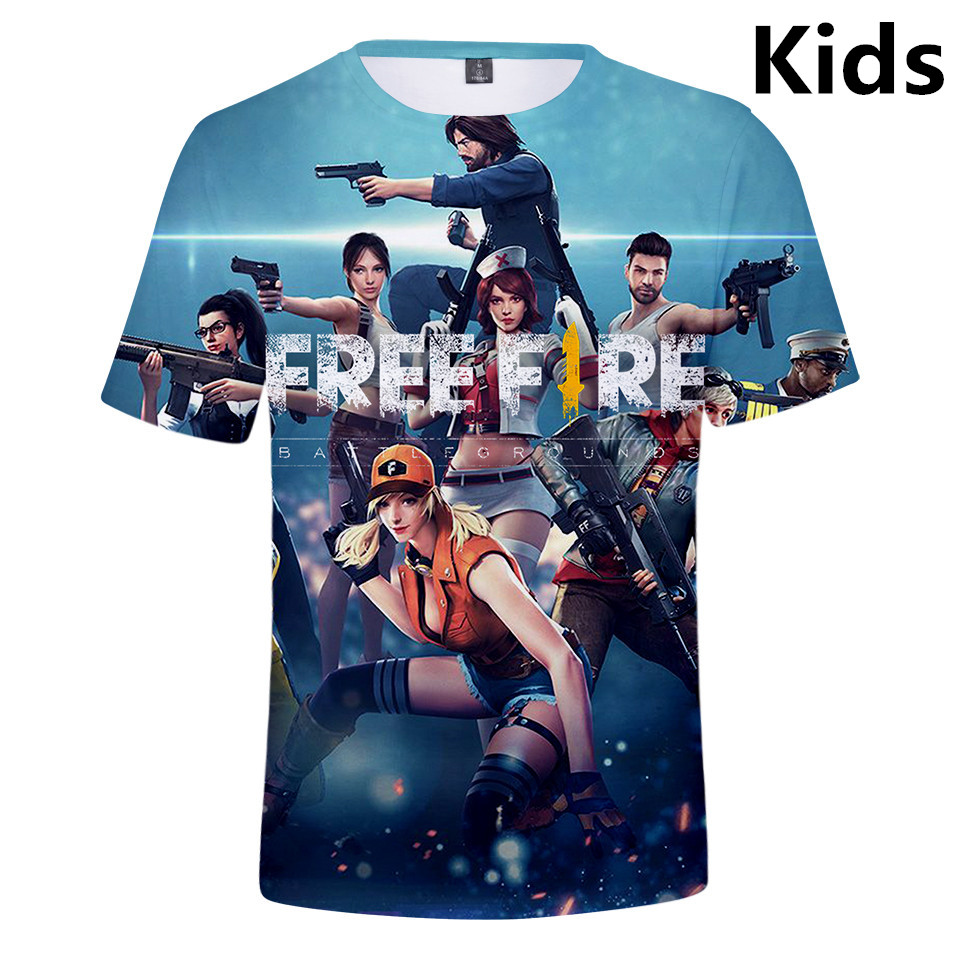 3 To 14 Years Kids T Shirt Free Fire 3D Printed Tshirt T-Shirt Boys Girls Cartoon Short Sleeve T Shirts Children Clothes