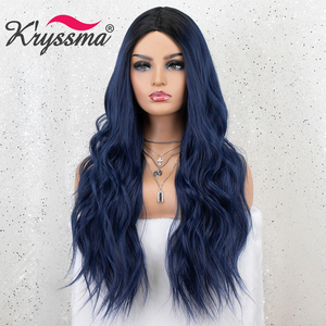 Image 4 - Kryssma Ombre Blue Wig Mixed Black Long Wavy Synthetic Wigs For Women Cosplay Wigs High Temperature Fiber Hair Wig