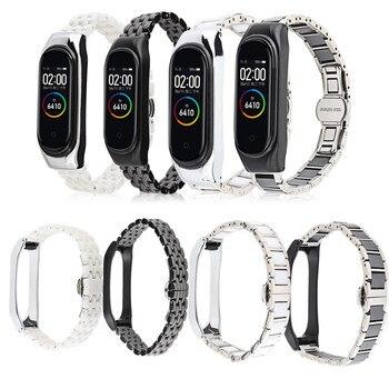 Ceramic strap for xiaomi mi band 4 3 5 Bracelet Stainless Steel Metal smart wrist watchband belt mi 4 band mi band strap case