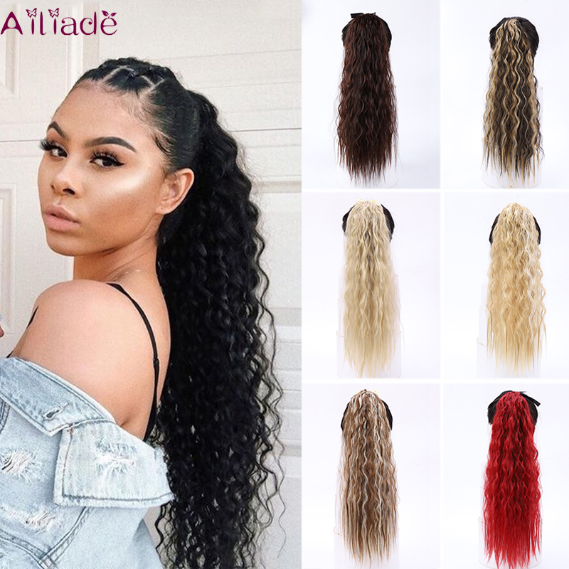 Afro Curly Long Drawstring Ponytail Synthetic Hairpiece Pony Tail Hair Piece For Women Fiber Fake Bun Clip In Hair Extension