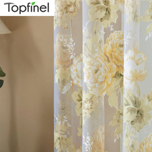 Topfinel Rose Floral Sheer Curtains for Window Room Curtains  For Living Room Bedroom Kitchen Door Decor Tulle Finished Curtains