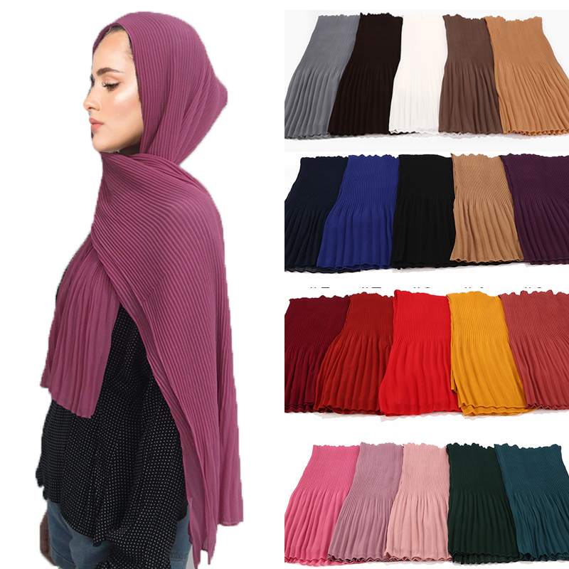 10pc lot Pleated Wrinkle bubble chiffon Hijab scarf shawls crinkle muslimTurban wraps women shawls long wrap