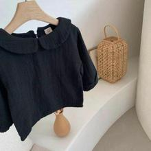 Long-Sleeve Blouse Shirt Baby-Girl Linen Toddler Cotton Solid Tops Tee Doll-Collar Spring