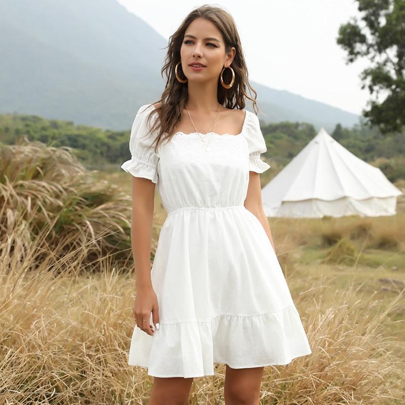 2021 New Fashion Ladies Summer Square Collar Ruffles Dress Women Short Sleeve White Knee-length Elegant Dress