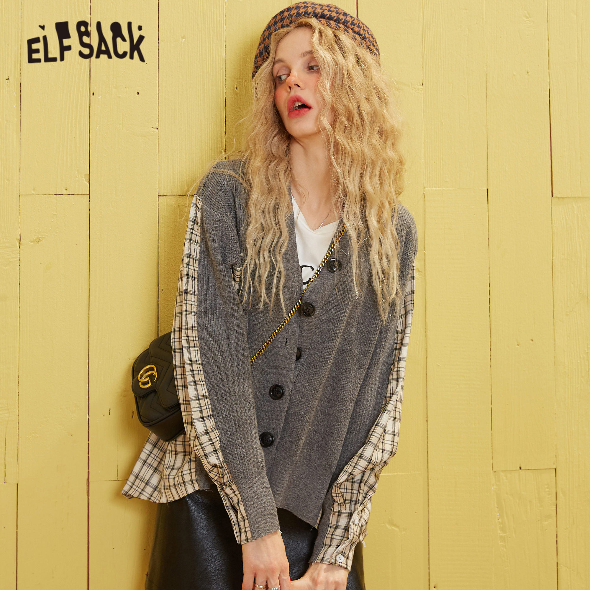 ELFSACK Gray Plaid Patchwork Jersey Korean Cardigan Women Sweaters 2020 Spring Single Button Long Sleeve Casual Ladies Daily Top