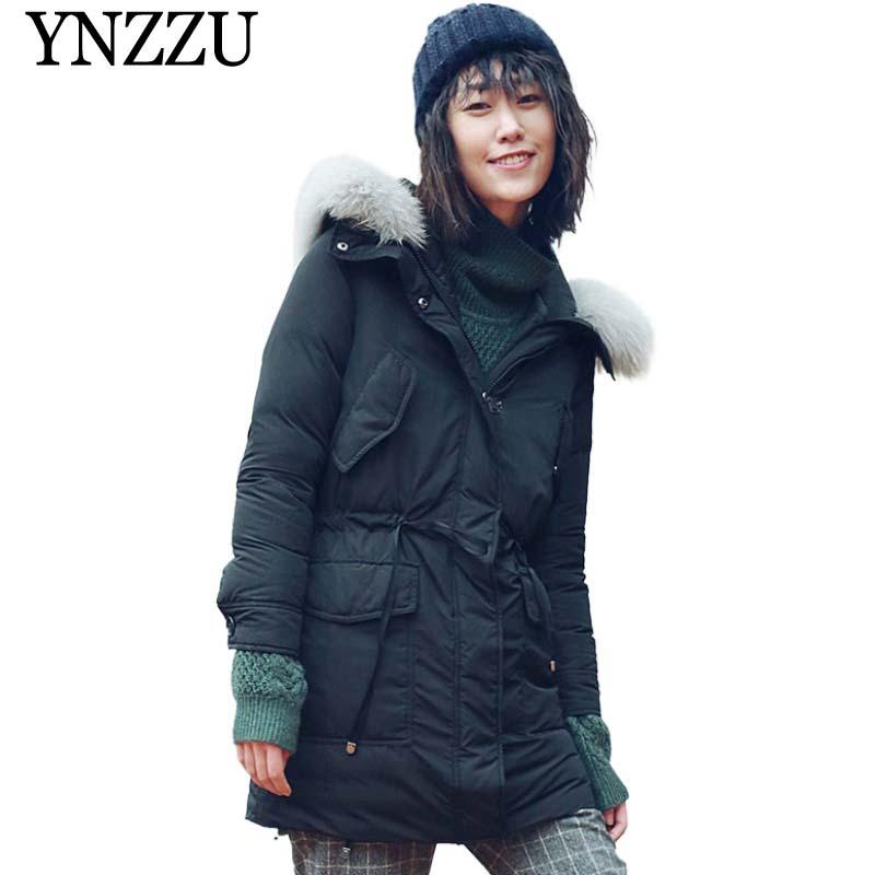 2019 Winter Real fox fur collar Women   Down   jacket Solid slim Long Female   Down     coat   Hooded Pocket Sport casual Outwear YNZZU O942