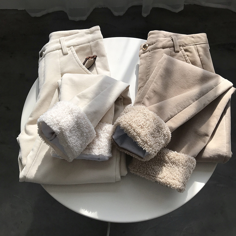 2020 Women Winter Warm Pants High Waist Thick Furry Inner Corduroy Ninth Length Women Harem Pants Korean Trousers Female