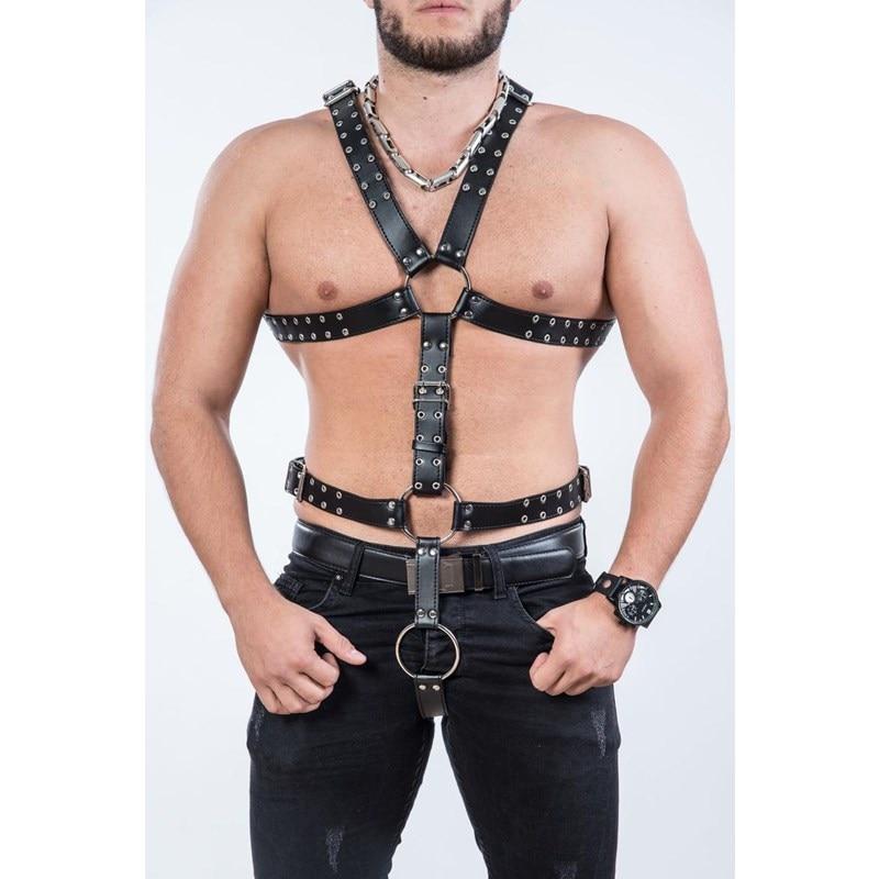 Фетиш мужчины гей грудь ремни мужские кожаные экзотические топы регулируемые мужские ремни панк Рейв костюмы для БДСМ Связывание гей секс