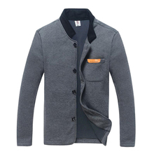 2021 Spring Fashion Men Jacket Thin Cardigan Autumn Stand Collar Jacket Pocket Buttons Coat Long Sleeve Warm Casual Outwear Grey